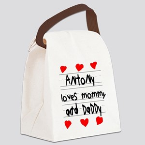 Antony Loves Mommy and Daddy Canvas Lunch Bag