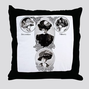 1908 December Millinery Throw Pillow