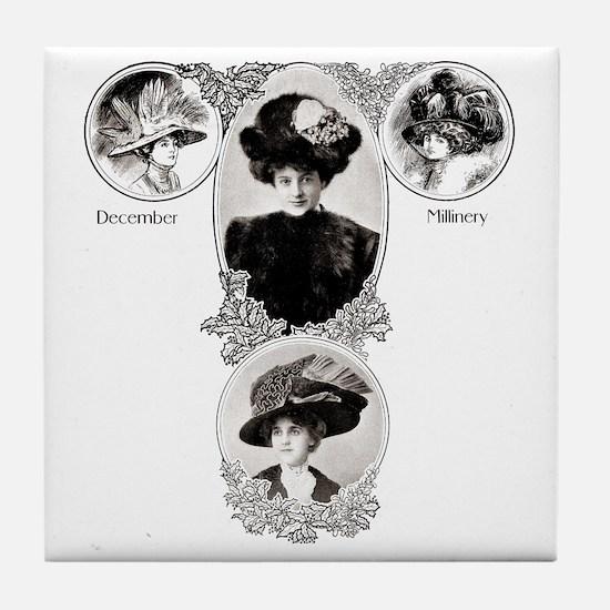 1908 December Millinery Tile Coaster