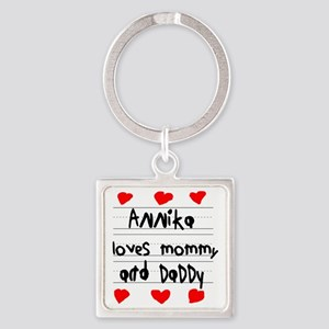 Annika Loves Mommy and Daddy Square Keychain