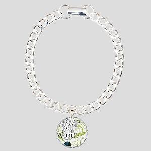 bethechange_earth_white Charm Bracelet, One Charm