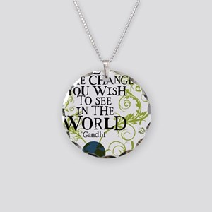 bethechange_earth_white Necklace Circle Charm