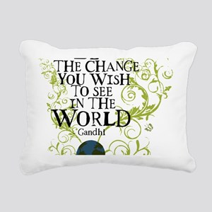 bethechange_earth_white Rectangular Canvas Pillow