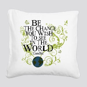 bethechange_earth_white Square Canvas Pillow