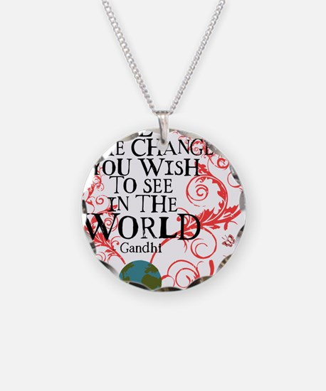 Be the Change Earth - Red Necklace