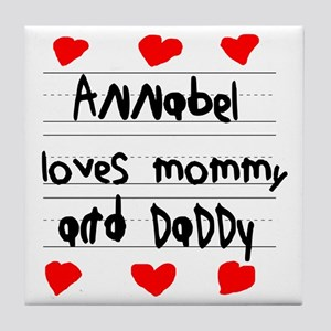 Annabel Loves Mommy and Daddy Tile Coaster