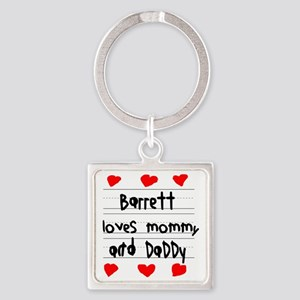 Barrett Loves Mommy and Daddy Square Keychain