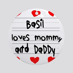 Basil Loves Mommy and Daddy Round Ornament