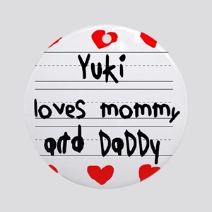 Yuki Loves Mommy and Daddy Round Ornament