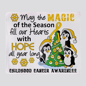 D Childhood Cancer Christmas Penguin Throw Blanket