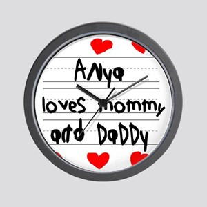 Anya Loves Mommy and Daddy Wall Clock