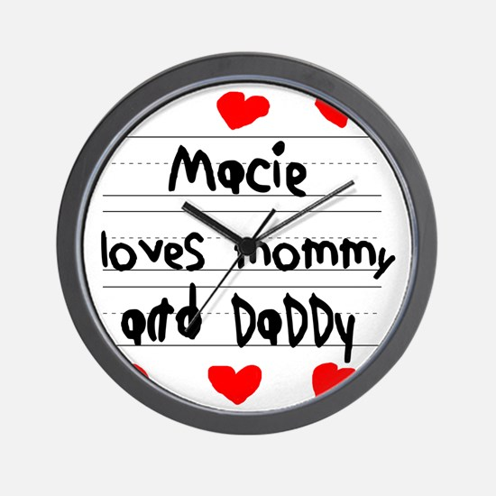 Macie Loves Mommy and Daddy Wall Clock