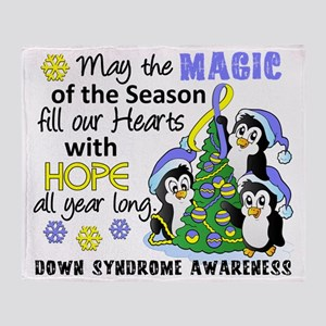 D Down Syndrome Christmas Penguins Throw Blanket