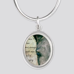 Courage Silver Oval Necklace