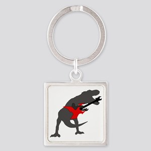 T-rex Playing the Guitar Square Keychain