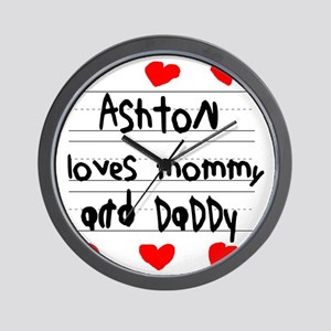 Ashton Loves Mommy and Daddy Wall Clock
