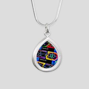 DNA molecule Silver Teardrop Necklace
