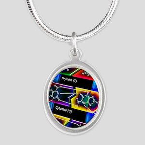 DNA molecule Silver Oval Necklace