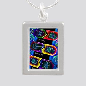 DNA molecule Silver Portrait Necklace
