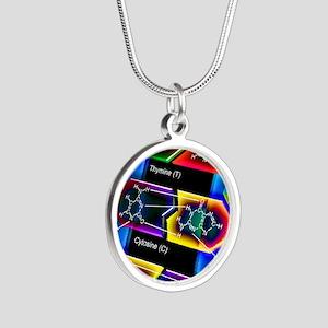 DNA molecule Silver Round Necklace