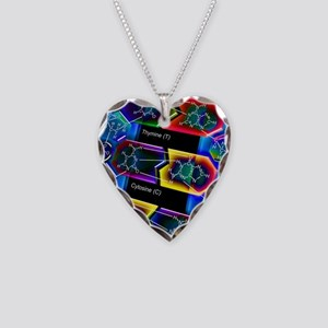 DNA molecule Necklace Heart Charm