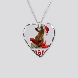 Naughty Dachshund Necklace Heart Charm