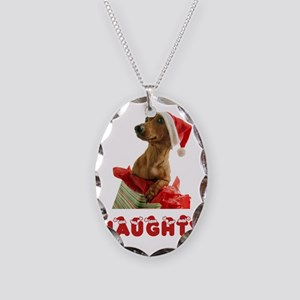 Naughty Dachshund Necklace Oval Charm