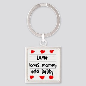 Luna Loves Mommy and Daddy Square Keychain