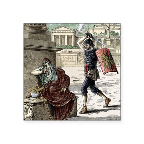 """Death of Archimedes in sack Square Sticker 3"""" x 3"""""""
