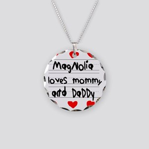 Magnolia Loves Mommy and Dad Necklace Circle Charm