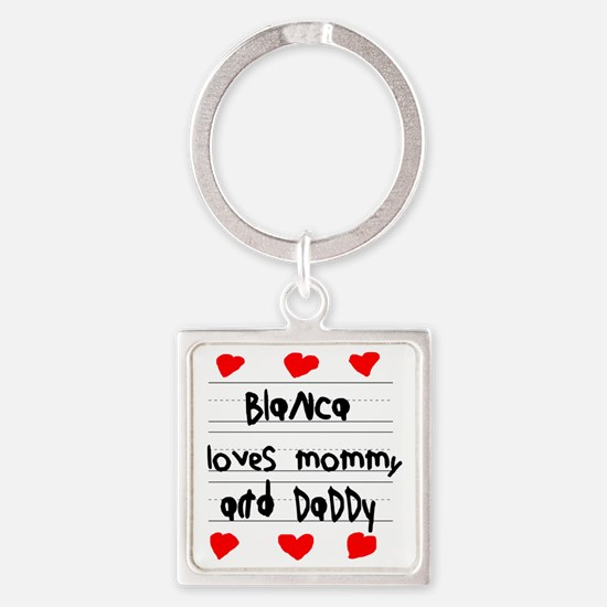 Blanca Loves Mommy and Daddy Square Keychain