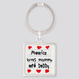 Maurice Loves Mommy and Daddy Square Keychain