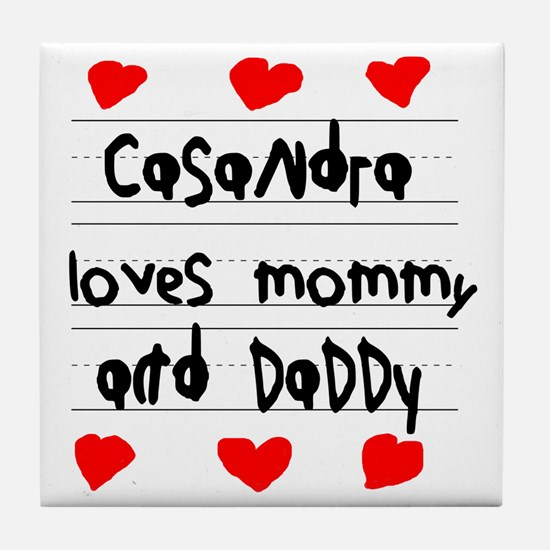 Casandra Loves Mommy and Daddy Tile Coaster