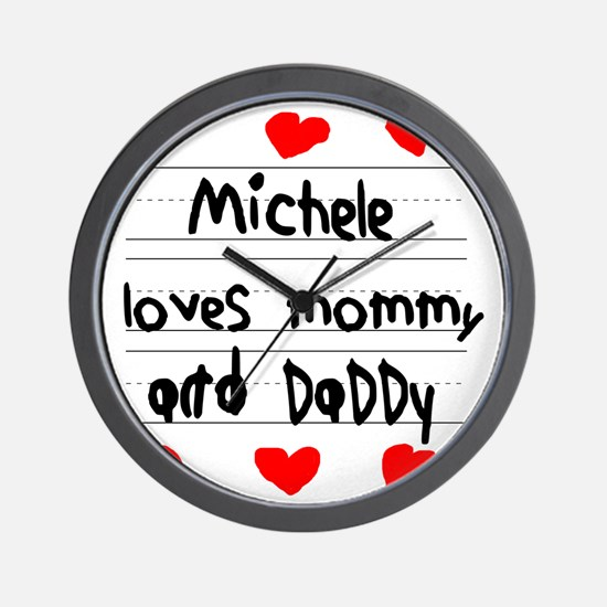 Michele Loves Mommy and Daddy Wall Clock