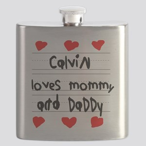 Calvin Loves Mommy and Daddy Flask