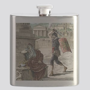 Death of Archimedes in sack of Syracuse Flask