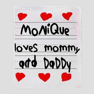 Monique Loves Mommy and Daddy Throw Blanket