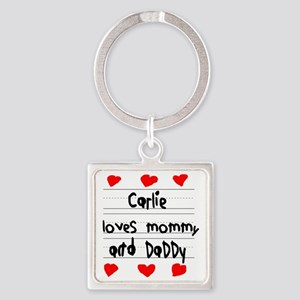Carlie Loves Mommy and Daddy Square Keychain