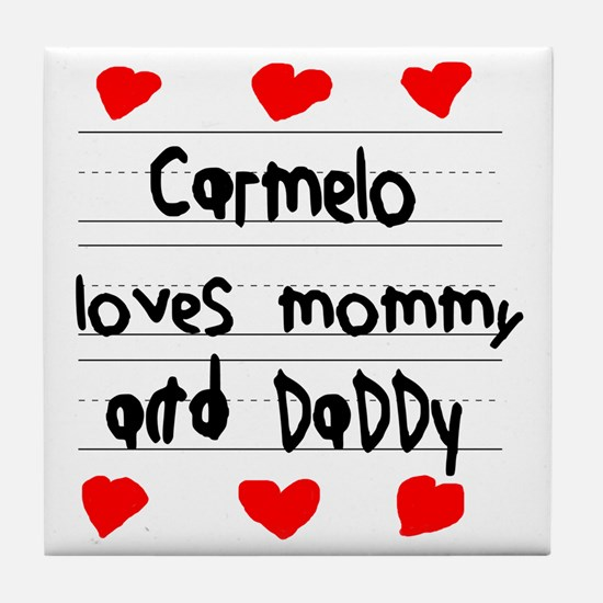 Carmelo Loves Mommy and Daddy Tile Coaster