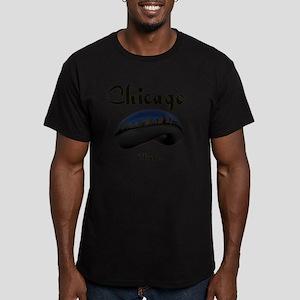 Chicago_12x12_Bean Men's Fitted T-Shirt (dark)