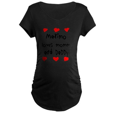 Maximo Loves Mommy and Dadd Maternity Dark T-Shirt