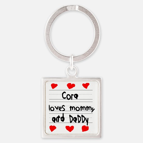Cora Loves Mommy and Daddy Square Keychain