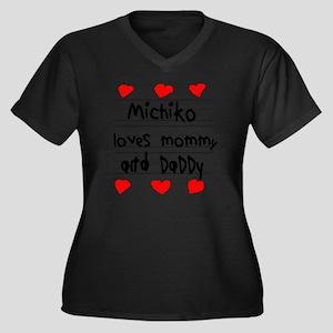 Michiko Love Women's Plus Size Dark V-Neck T-Shirt