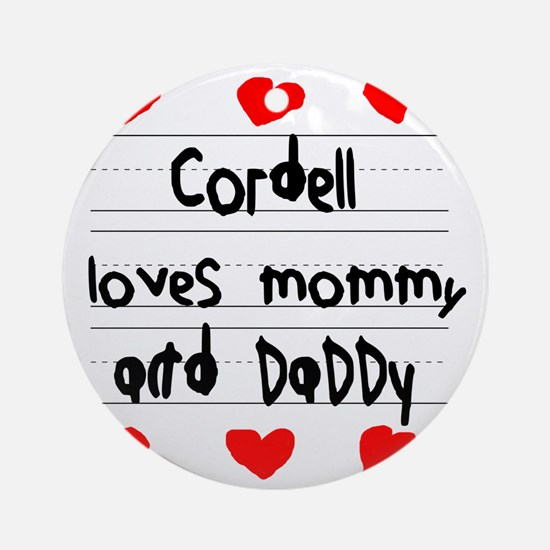 Cordell Loves Mommy and Daddy Round Ornament