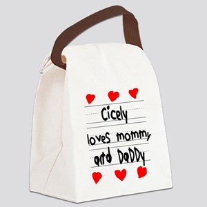 Cicely Loves Mommy and Daddy Canvas Lunch Bag