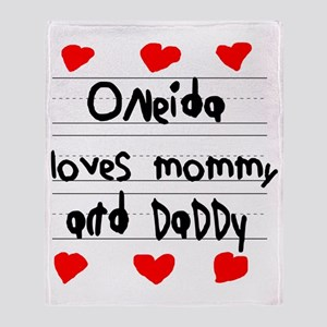 Oneida Loves Mommy and Daddy Throw Blanket