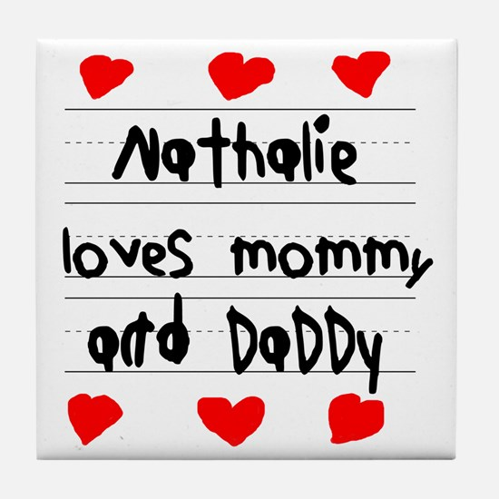 Nathalie Loves Mommy and Daddy Tile Coaster