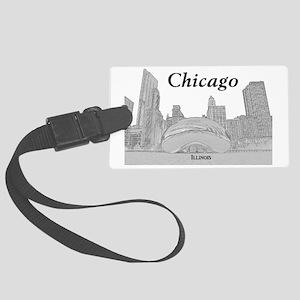 ChicagoBeanSkyline_Rectangle_Bla Large Luggage Tag