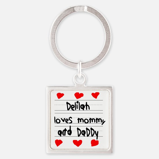 Delilah Loves Mommy and Daddy Square Keychain