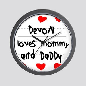 Devon Loves Mommy and Daddy Wall Clock